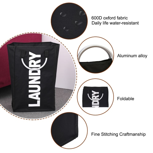 Practical Foldable Laundry Bag Washing Dirty Clothes Laundry Basket Durable Storage Bag with Alloy Handle--BlackHome &amp; Garden<br>Practical Foldable Laundry Bag Washing Dirty Clothes Laundry Basket Durable Storage Bag with Alloy Handle--Black<br>