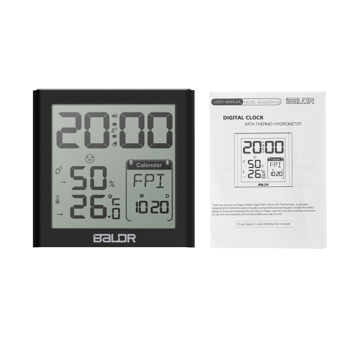 Baldr Mini LCD Digital Alarm Clock Indoor Thermometer Hygrometer with Alarm Snooze Function Calender White Backlight for Home OffiHome &amp; Garden<br>Baldr Mini LCD Digital Alarm Clock Indoor Thermometer Hygrometer with Alarm Snooze Function Calender White Backlight for Home Offi<br>