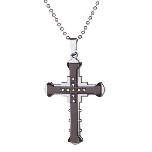 ذكر كريستال الصليب قلادة الفولاذ