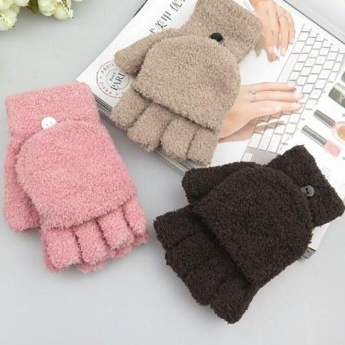 Meninas Coral Veludo Flip Cover Soft Metade Dedo
