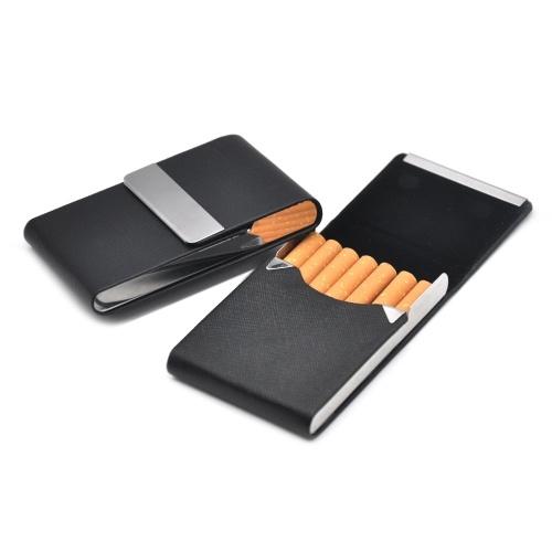 Etui porte-tabac classique en cuir et métal