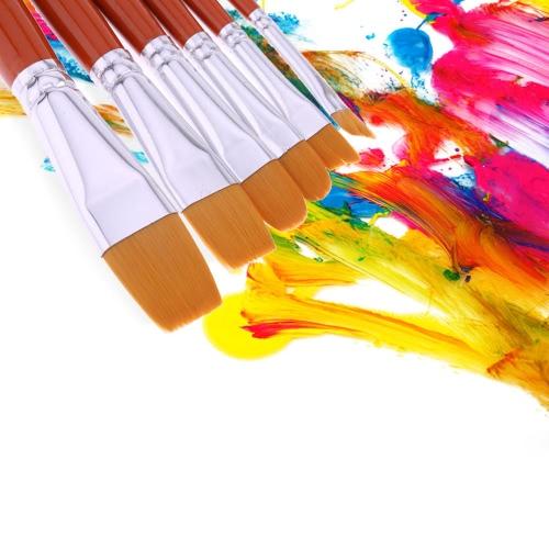 6pcs Nylon Hair Paintbrush Set Wooden Handle Artists Gouache Watercolor Acrylic Painting Brushes Art SuppliesHome &amp; Garden<br>6pcs Nylon Hair Paintbrush Set Wooden Handle Artists Gouache Watercolor Acrylic Painting Brushes Art Supplies<br>