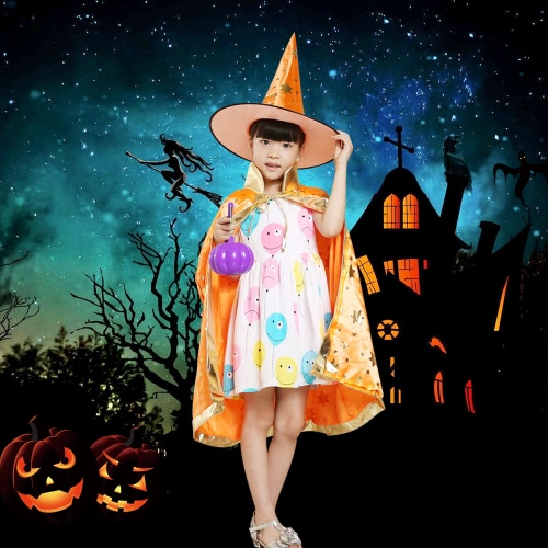 Kids Witch Wizard Cloak Hat Set Shinng Stars Pattern Halloween Role Play Cape Robe Costume for Boys Girls BlueHome &amp; Garden<br>Kids Witch Wizard Cloak Hat Set Shinng Stars Pattern Halloween Role Play Cape Robe Costume for Boys Girls Blue<br>