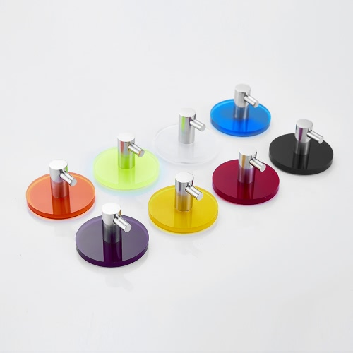 Wall Mounted Acrylic Stainless Steel Hook Clothes Towel Hats Hanging Hooks with Back Adhesive for Bathroom Bedroom Kitchen--BlackHome &amp; Garden<br>Wall Mounted Acrylic Stainless Steel Hook Clothes Towel Hats Hanging Hooks with Back Adhesive for Bathroom Bedroom Kitchen--Black<br>