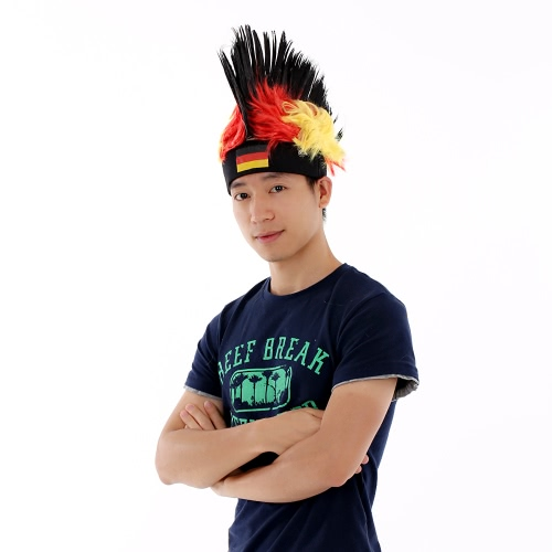 Anself Germany Flag Football Soccer Fans Wig Cockscomb European Cup FIFA World Cup Sports Carnival Festival Cosplay CostumeHome &amp; Garden<br>Anself Germany Flag Football Soccer Fans Wig Cockscomb European Cup FIFA World Cup Sports Carnival Festival Cosplay Costume<br>