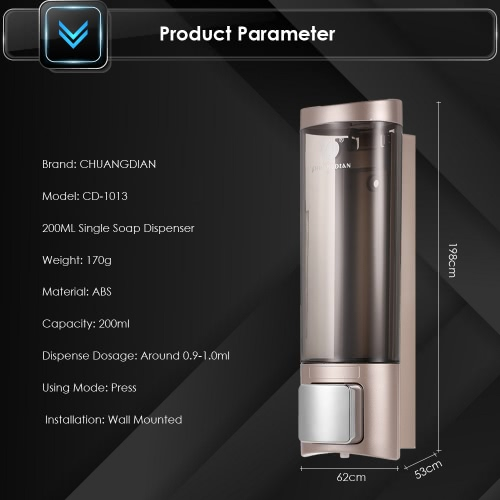 CHUANGDIAN Manual Hand Soap Dispenser Wall Mount Liquid Shampoo Shower Gel Dispenser Hand Cleanser Washroom Lotion Dispenser for BHome &amp; Garden<br>CHUANGDIAN Manual Hand Soap Dispenser Wall Mount Liquid Shampoo Shower Gel Dispenser Hand Cleanser Washroom Lotion Dispenser for B<br>