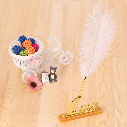 Retro Style White Feather Signing Pen with Love Holder Wedding Pen Set Decoration Supplies--SilverHome &amp; Garden<br>Retro Style White Feather Signing Pen with Love Holder Wedding Pen Set Decoration Supplies--Silver<br>