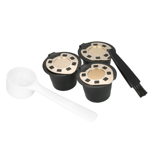 3pcs / set cápsula de café reutilizable para Nespreso Machine Set de 3 filtros de café con cuchara y pincel