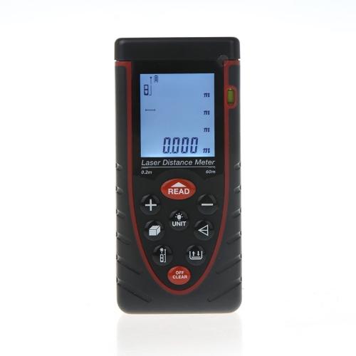 60m / 197ft gamma di telemetro di misuratore di distanza Laser palmare Finder con bolla Area livello Volume misura