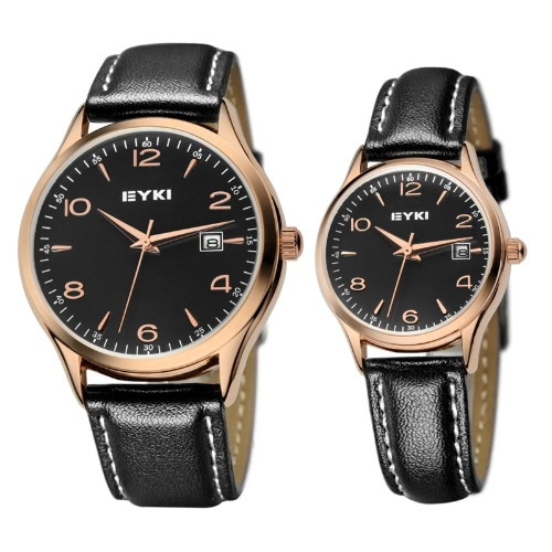 EYKI Fashion Classic Lovers Watch Table Quartz Leather Watchband EET8729 Men Male Golden-BlackApparel &amp; Jewelry<br>EYKI Fashion Classic Lovers Watch Table Quartz Leather Watchband EET8729 Men Male Golden-Black<br>