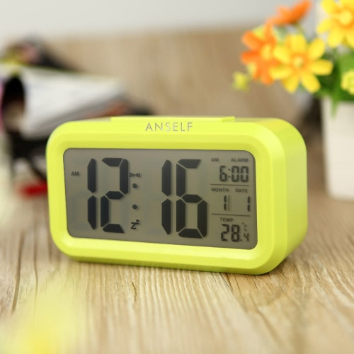 Anself LED Digital Alarm Clock Repeating Snooze Light-activated Sensor Backlight Time Date Temperature Display GreenHome &amp; Garden<br>Anself LED Digital Alarm Clock Repeating Snooze Light-activated Sensor Backlight Time Date Temperature Display Green<br>