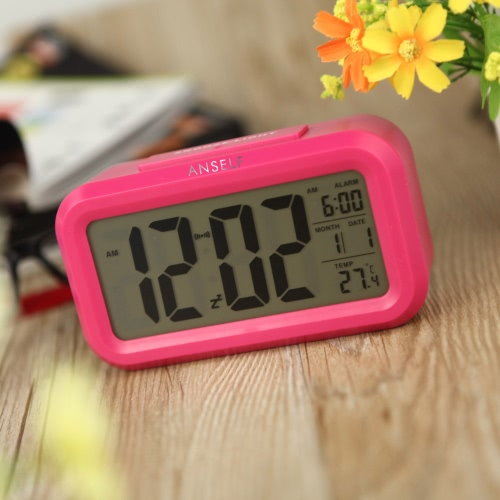 Anself LED Digital Alarm Clock Repeating Snooze Light-activated Sensor Backlight Time Date Temperature Display Rose RedHome &amp; Garden<br>Anself LED Digital Alarm Clock Repeating Snooze Light-activated Sensor Backlight Time Date Temperature Display Rose Red<br>