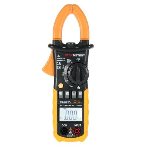 PEAKMETER MS2008A Digital AC Clamp Meter 2000 Counts w/ Back lightTest Equipment &amp; Tools<br>PEAKMETER MS2008A Digital AC Clamp Meter 2000 Counts w/ Back light<br>