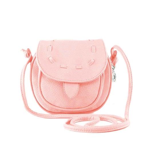 Nouveau mode femmes Mini sac à bandoulière PU cuir Messenger sac bandoulière Drawstring sac à main rose