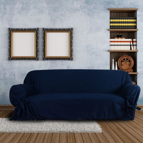 High Quality Soft Cotton Slipcover Couch Sofa Slip Cover for Loveseat 2 Seater Dark BlueHome &amp; Garden<br>High Quality Soft Cotton Slipcover Couch Sofa Slip Cover for Loveseat 2 Seater Dark Blue<br>