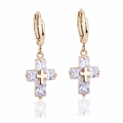 1Pair Clear Crystal Zircon 18K Gold Plated Cross Drop Dangle Pendant Ear Earring Jewelry Gift for Women LadyApparel &amp; Jewelry<br>1Pair Clear Crystal Zircon 18K Gold Plated Cross Drop Dangle Pendant Ear Earring Jewelry Gift for Women Lady<br>