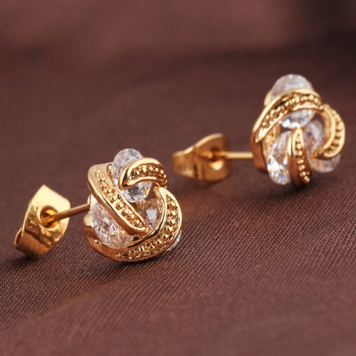 1Pair Clear Crystal Zircon 18K Gold Plated Ear Stud Earring Rotating Leaf Moon Jewelry Gift for Women LadyApparel &amp; Jewelry<br>1Pair Clear Crystal Zircon 18K Gold Plated Ear Stud Earring Rotating Leaf Moon Jewelry Gift for Women Lady<br>