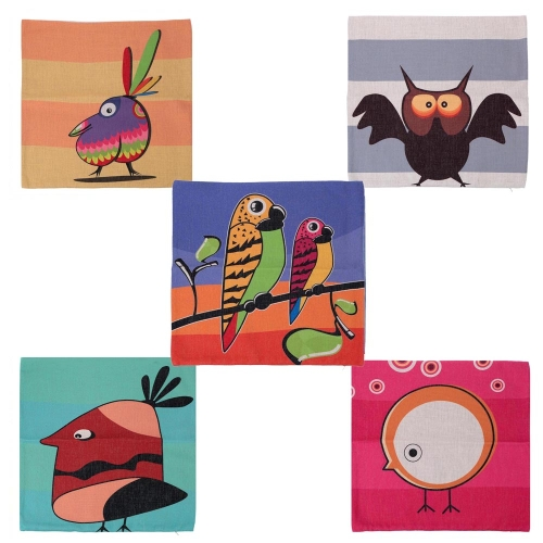 Cartoon Animals Parrot Owl Cotton and Linen Pillowcase Back Cushion Cover Throw Pillow Case for Bed Sofa Car Home Decorative DecorHome &amp; Garden<br>Cartoon Animals Parrot Owl Cotton and Linen Pillowcase Back Cushion Cover Throw Pillow Case for Bed Sofa Car Home Decorative Decor<br>