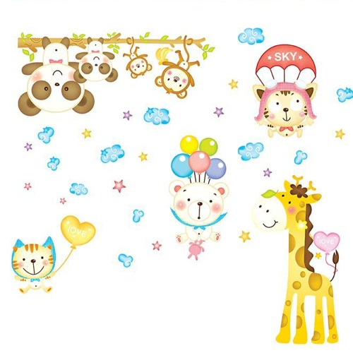 Removable Wall Decal Sticker Monkey Giraffe Cartoon Animals DIY Wallpaper Art Decals Mural for Room Decoration 60 * 90cmHome &amp; Garden<br>Removable Wall Decal Sticker Monkey Giraffe Cartoon Animals DIY Wallpaper Art Decals Mural for Room Decoration 60 * 90cm<br>