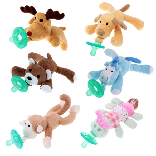 Infant Baby Silicone Pacifiers with Plush Animal Toy Baby NipplesHome &amp; Garden<br>Infant Baby Silicone Pacifiers with Plush Animal Toy Baby Nipples<br>
