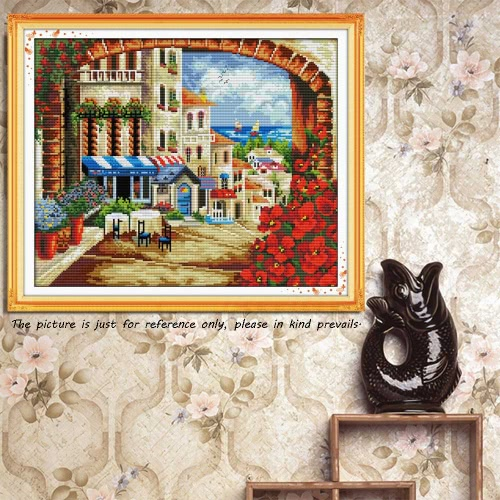 DIY Handmade Needlework Counted Cross Stitch Set Embroidery Kit 14CT Mediterranean Scenery Pattern Cross-Stitching 45 * 38cm HomeHome &amp; Garden<br>DIY Handmade Needlework Counted Cross Stitch Set Embroidery Kit 14CT Mediterranean Scenery Pattern Cross-Stitching 45 * 38cm Home<br>