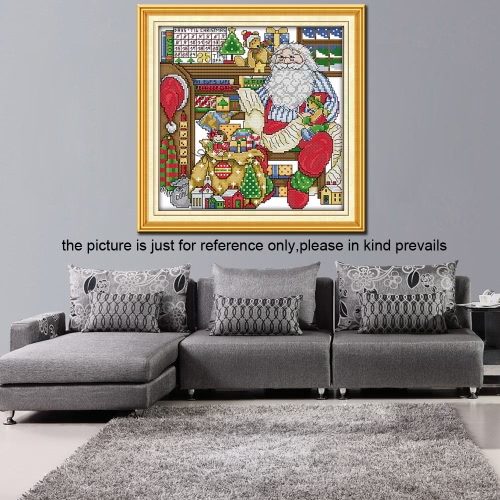 32*32cm DIY Handmade Counted Cross Stitch Needlework Set Embroidery Kit the Workroom of Santa Claus Home Decoration 14CTHome &amp; Garden<br>32*32cm DIY Handmade Counted Cross Stitch Needlework Set Embroidery Kit the Workroom of Santa Claus Home Decoration 14CT<br>