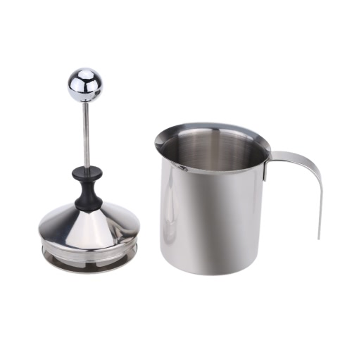 400ml Stainless Steel Milk Frother Double Mesh Milk Foamer DIY Fancy White Coffe Creamer for Cappuccino LatteHome &amp; Garden<br>400ml Stainless Steel Milk Frother Double Mesh Milk Foamer DIY Fancy White Coffe Creamer for Cappuccino Latte<br>