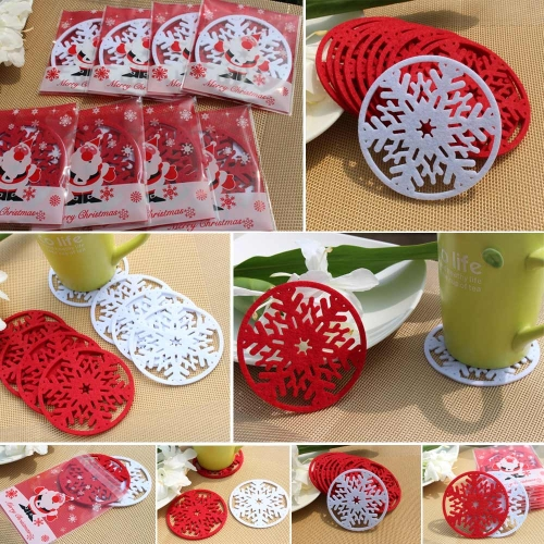 10 PCS Cup Pad Cute Snowflake Insulation Mat Light Weight Heat Pad Adorable Christmas ProductHome &amp; Garden<br>10 PCS Cup Pad Cute Snowflake Insulation Mat Light Weight Heat Pad Adorable Christmas Product<br>