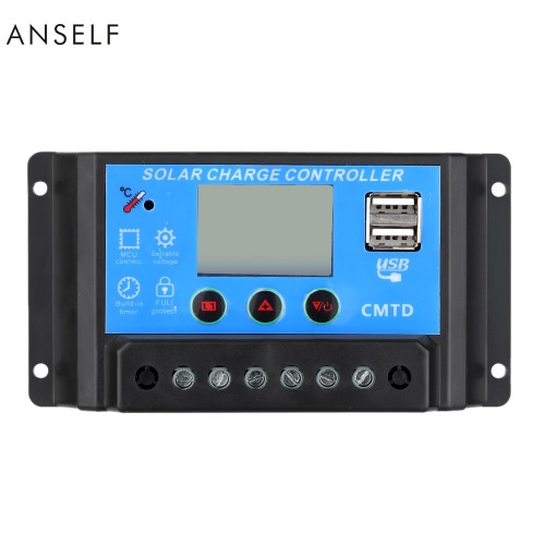 Anself 20A 12V/24V Solar Charge Controller with LCD Display Auto Regulator Timer Solar Panel Battery Lamp LED Lighting Overload PrHome &amp; Garden<br>Anself 20A 12V/24V Solar Charge Controller with LCD Display Auto Regulator Timer Solar Panel Battery Lamp LED Lighting Overload Pr<br>