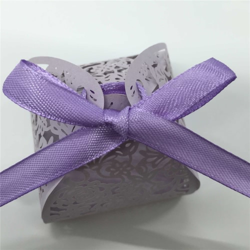 20 PCS Noble Purple Delicate Carved Flower Elegant Romantic Candy Boxes with Ribbons for Party Birthday Wedding Banquet KindergartHome &amp; Garden<br>20 PCS Noble Purple Delicate Carved Flower Elegant Romantic Candy Boxes with Ribbons for Party Birthday Wedding Banquet Kindergart<br>