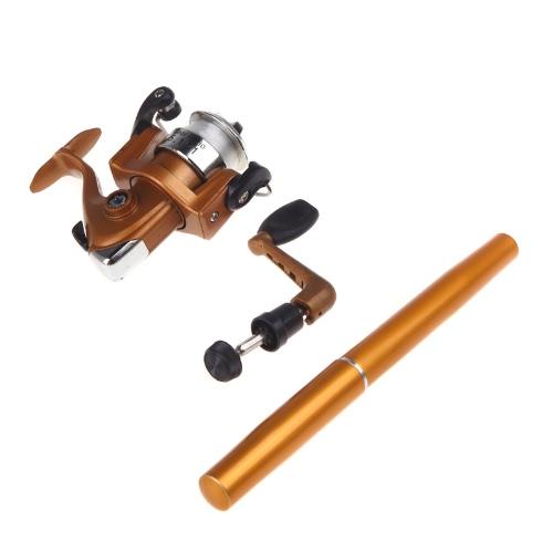 Mini Aluminum Pocket Pen Fishing Rod Pole + Reel GoldenSports &amp; Outdoor<br>Mini Aluminum Pocket Pen Fishing Rod Pole + Reel Golden<br>