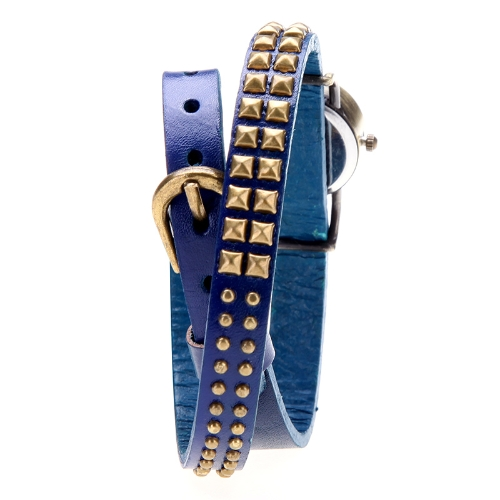 Women Lady Quartz Wrist Watch Rivet Round Wrap Strap Bracelet Genuine Cow LeatherApparel &amp; Jewelry<br>Women Lady Quartz Wrist Watch Rivet Round Wrap Strap Bracelet Genuine Cow Leather<br>