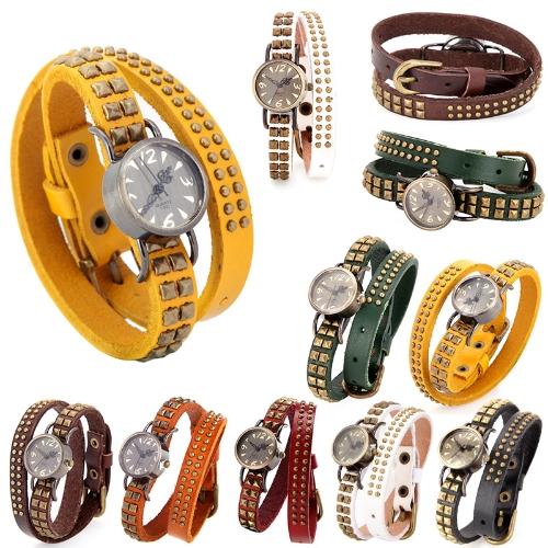 Women Lady Quartz Wrist Watch Vintage Rivet Round Wrap Strap Bracelet Genuine Cow LeatherApparel &amp; Jewelry<br>Women Lady Quartz Wrist Watch Vintage Rivet Round Wrap Strap Bracelet Genuine Cow Leather<br>