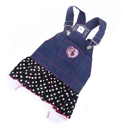 Fashion Pet Dog Clothes Jean Skirt Dress Lovely Lace Heart Apparel CostumeHome &amp; Garden<br>Fashion Pet Dog Clothes Jean Skirt Dress Lovely Lace Heart Apparel Costume<br>