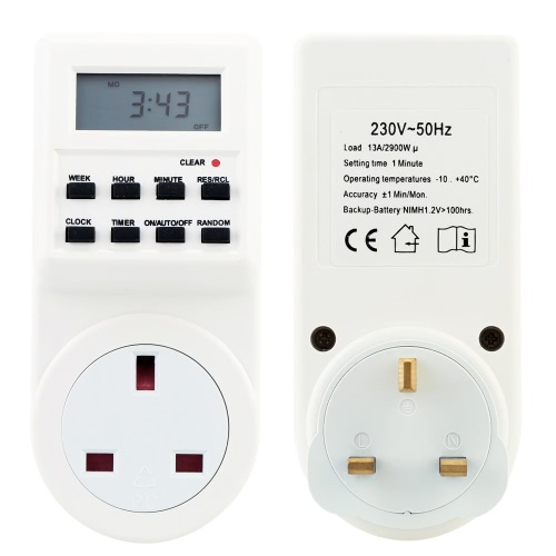 Digital LCD Electronic Plug-in Programmable Timer 12/24 Hour Switch Socket with Clock Summer Time Random Function 240V 50HzHome &amp; Garden<br>Digital LCD Electronic Plug-in Programmable Timer 12/24 Hour Switch Socket with Clock Summer Time Random Function 240V 50Hz<br>