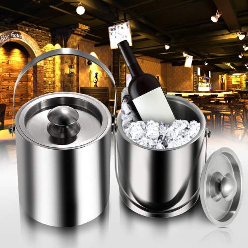 2/3 l 二層ステンレス鋼絶縁氷バケット ワインの寒さたるワイン用品氷バケツ蓋と携帯用ハンドル