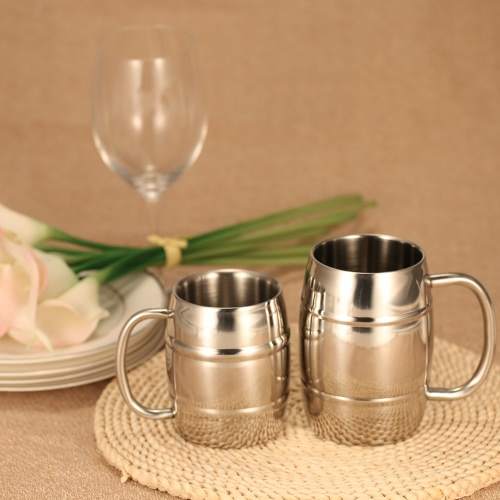 Double-Wall Stainless Steel Drinking Coffee Tea Cup Tub-shaped Beer Mug Beverage Picnic Cup Drinkware with Handle Wipe-cleanHome &amp; Garden<br>Double-Wall Stainless Steel Drinking Coffee Tea Cup Tub-shaped Beer Mug Beverage Picnic Cup Drinkware with Handle Wipe-clean<br>
