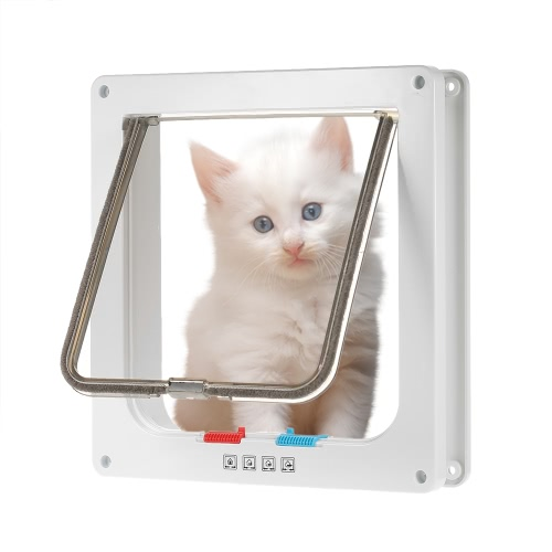 Dog Door Small Middle 4-Way Locking Cat Flap Wall Mount Pet Door For Pets Safe WhiteHome &amp; Garden<br>Dog Door Small Middle 4-Way Locking Cat Flap Wall Mount Pet Door For Pets Safe White<br>