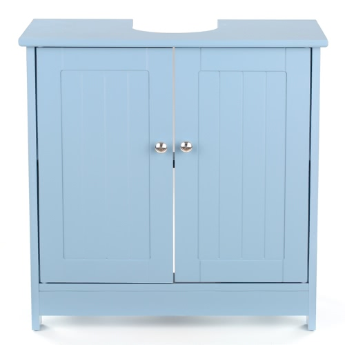 iKayaa Modern Under Sink Gabinete de armazenamento com portas Móveis de vaidade de banheiro 2 Layer Organizer White / Blue