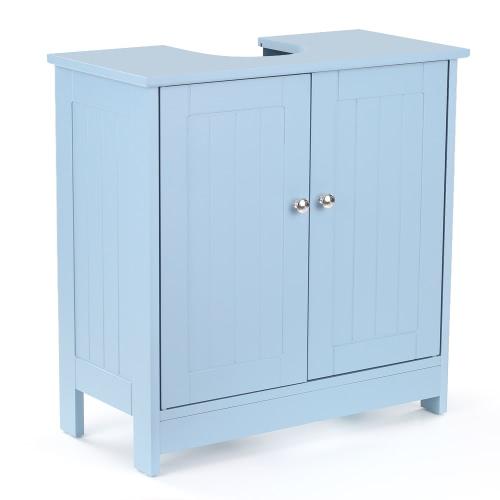 iKayaa Modern Under Sink Storage Cabinet with Doors Bathroom Vanity Furniture 2 Layer Organizer White/BlueHome &amp; Garden<br>iKayaa Modern Under Sink Storage Cabinet with Doors Bathroom Vanity Furniture 2 Layer Organizer White/Blue<br>