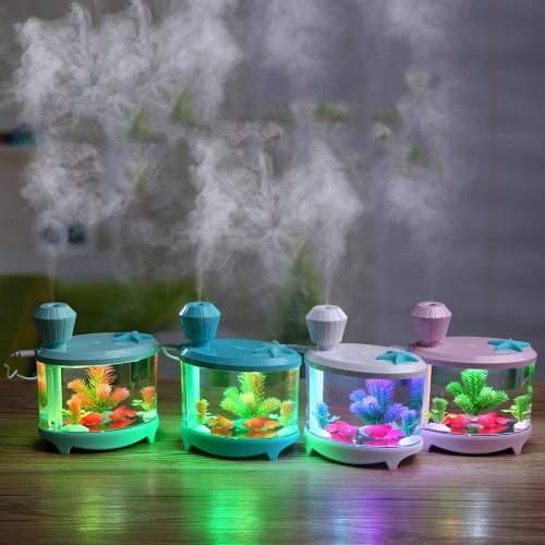 Novel Fish Tank LED Night Light Household Ultrasonic Air Humidifier Aquarium Small Cylinder Air Purifier Misting Maker Lamp High CHome &amp; Garden<br>Novel Fish Tank LED Night Light Household Ultrasonic Air Humidifier Aquarium Small Cylinder Air Purifier Misting Maker Lamp High C<br>