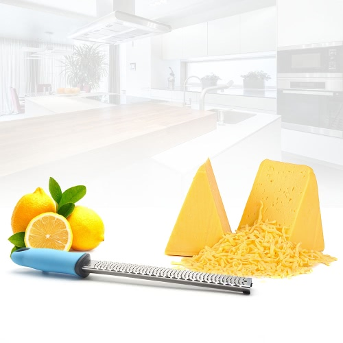 Stainless Steel Cheese Grater Lemon Zester Ginger Chocolate Grater with TPR Handle Plastic Cover BlueHome &amp; Garden<br>Stainless Steel Cheese Grater Lemon Zester Ginger Chocolate Grater with TPR Handle Plastic Cover Blue<br>