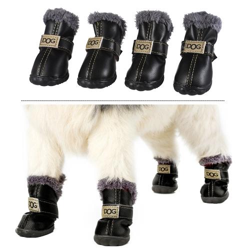 4-pcs Set Puppy Pet Dog Cat Shoes Boots Paw Protectors Winter Warm Water-resistant PU Antiskid RubberHome &amp; Garden<br>4-pcs Set Puppy Pet Dog Cat Shoes Boots Paw Protectors Winter Warm Water-resistant PU Antiskid Rubber<br>