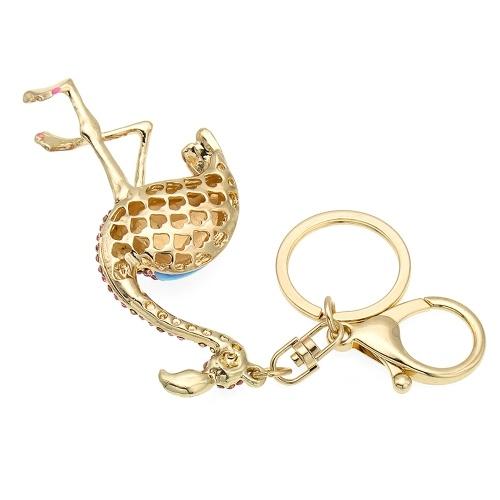 Flamingo Zinc Alloy Rhinestone Key Chain Hollow Shining Key Ring with Clip Hook Handbag Purse Car Pendant Ornament Decor--Pink
