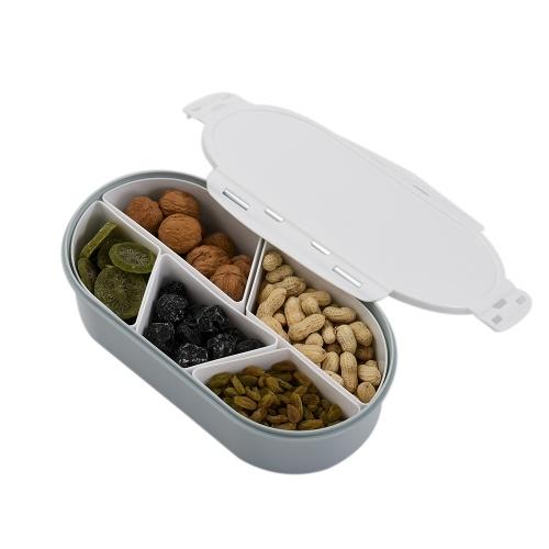 Fruits Noix Assiette avec Couvercle Plateau en plastique à plusieurs sections détachable