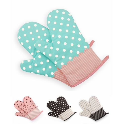 Non-Slip Kitchen Oven Mitts Heat Resistant Cotton Gloves for Cooking Baking Barbecue Potholder Glove with PatternsHome &amp; Garden<br>Non-Slip Kitchen Oven Mitts Heat Resistant Cotton Gloves for Cooking Baking Barbecue Potholder Glove with Patterns<br>