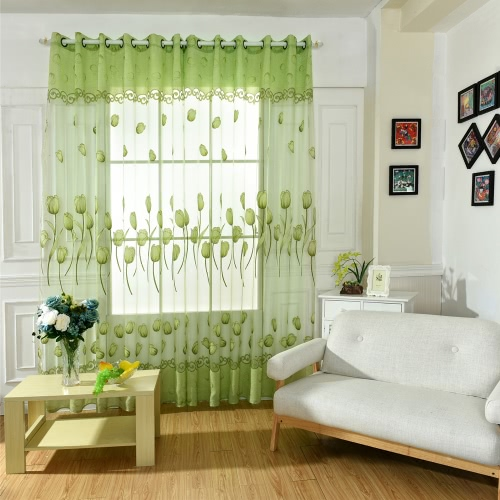 Anself Tulip Flowers Jacquard Burnt-out Half Shading Voile Curtain for Door Window Room Decoration Window Screening Drape Scarf CuHome &amp; Garden<br>Anself Tulip Flowers Jacquard Burnt-out Half Shading Voile Curtain for Door Window Room Decoration Window Screening Drape Scarf Cu<br>