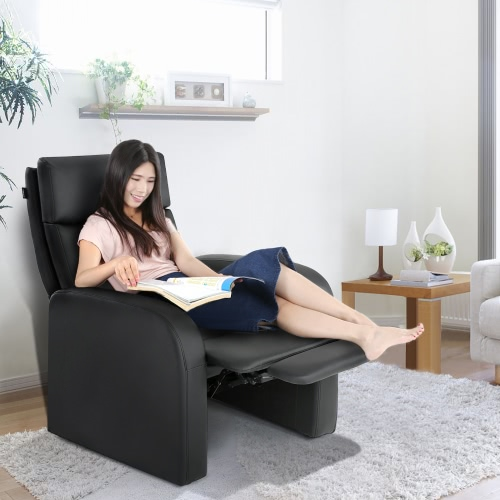 iKayaa Modern Comfortable Padded Recliner Bounded Leather Glider Chair Push Back Mechnism 130KG Load Capacity