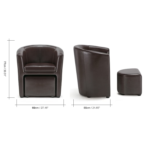 iKayaa Contemporary PU Leather Barrel Tub Chair Armchair with Ottoman Accent Club Chair Living Room Furniture W/ Rubber Wood LegsHome &amp; Garden<br>iKayaa Contemporary PU Leather Barrel Tub Chair Armchair with Ottoman Accent Club Chair Living Room Furniture W/ Rubber Wood Legs<br>