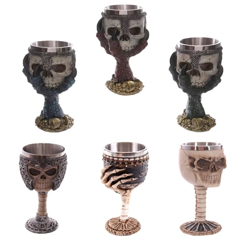 Hot Unique Creative Novelty Resin Stainless Steel Liner Creepy 3D Pattern Goblet Beer Milk Coffee Cup Tankard Drinkware for HallowHome &amp; Garden<br>Hot Unique Creative Novelty Resin Stainless Steel Liner Creepy 3D Pattern Goblet Beer Milk Coffee Cup Tankard Drinkware for Hallow<br>